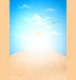 realistic summer sand island ocean sea sky vector image vector image