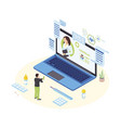 remote doctor consultation isometric male vector image vector image