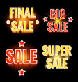 sale lettering shining banners vector image vector image