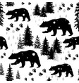 seamless pattern with silhouettes of bears vector image vector image