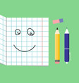 smiling cute school supplies used in math class vector image