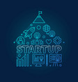 start-up icons in house shape blue in vector image vector image