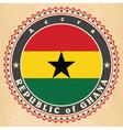Vintage label cards of Ghana flag vector image