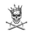 vintage prince skull in crown vector image