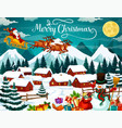 winter town or village and santa with deers vector image