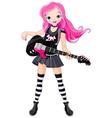 Rock star girl playing guitar vector image