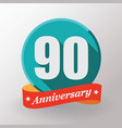 90 anniversary label with ribbon vector image vector image