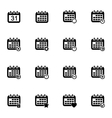 black calendar icons set vector image vector image