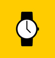 black watch icon with white display on yellow vector image vector image