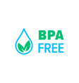 bpa free icon safe food package stamp healthy bpa vector image vector image