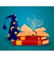Cap wizard and Book of magic spells vector image vector image