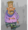 cartoon homeless man begging for money vector image vector image