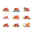cartoon house insurance service icons set vector image