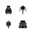 chinese culture black glyph icons set on white vector image