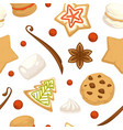 christmas gingerbread cookies and pastry pattern vector image vector image