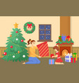 christmas holidays at home family with gifts vector image vector image