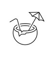 coconut cocktail linear icon on white background vector image