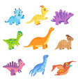 collection cute colorful dinosaurs funny baby vector image vector image