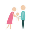 color silhouette pictogram woman and man holding a vector image vector image