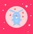 cute bunny toy icon on pink background vector image