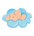 cute little baby boy sleeping in cloud isolated vector image vector image