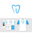 dental logo design with business card and t shirt vector image vector image
