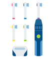 electric toothbrush with brush set icon flat vector image vector image
