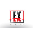 ex e x logo letters with red and black colors and vector image vector image