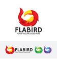 flame bird logo design vector image vector image