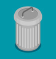 flat steel bin icon vector image vector image