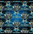 floral damask seamless pattern greek key vector image vector image