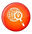 Globe map pointer and magnifying glass vector image vector image