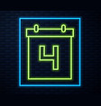 glowing neon line day calendar with date july 4 vector image vector image