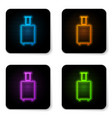 glowing neon travel suitcase icon isolated on vector image vector image