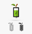 green battery and green leaf eco concept vector image vector image