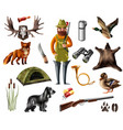 hunting icons set vector image vector image