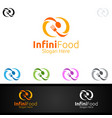 infinity food logo for restaurant or cafe vector image vector image