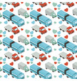 isometrics trucks and hearts pattern background vector image