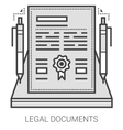 Legal documents line icons vector image