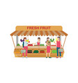 local farm market fruit shop with fruit seller vector image vector image