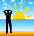 man on the beach silhouette vector image