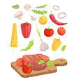 meat served on board icon set vector image