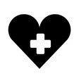 medical heart with cross symbol silhouette vector image vector image