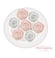 meringues plate sweet dessert top view vector image vector image