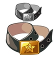 Military leather belt with shiny star on badge vector image