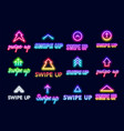 neon sign swipe up button for stories in the vector image