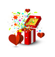 open gift box with colorful confetti and paper vector image vector image