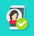 profile with checkmark on smartphone flat vector image vector image