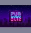 pub quiz night announcement poster design vector image