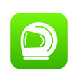 racer helmet icon green vector image